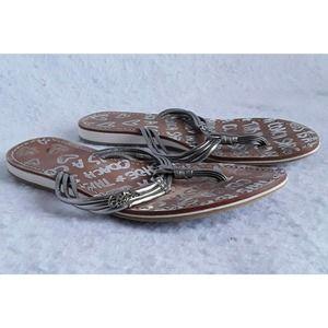 "COACH Womens 8? 10.25"" LONG Flat Flip Flop Sandal"